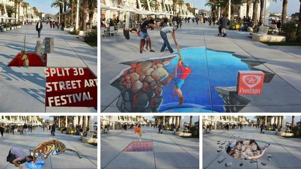 3D street art Festival a Spalato in Dalmazia